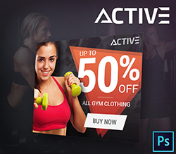 Active Sport Sales PSD Banner Template