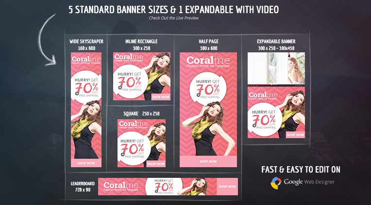 Five standard banner size and one expandable banner