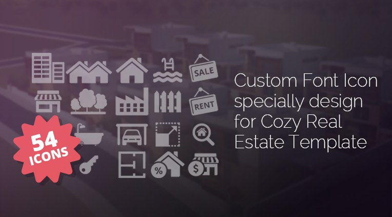 Custom font icon specially designed for Cozy Real estate Template with 54 icons