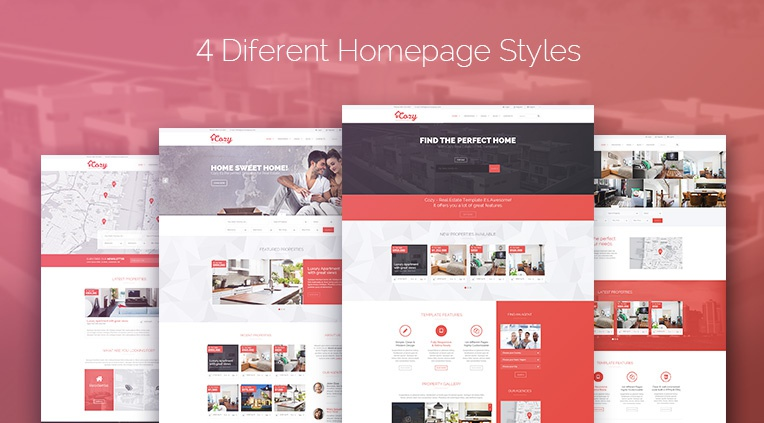 4 completely different homepage styles