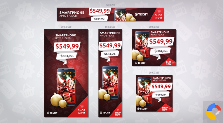 Techy Christmas - 5 banner sizes