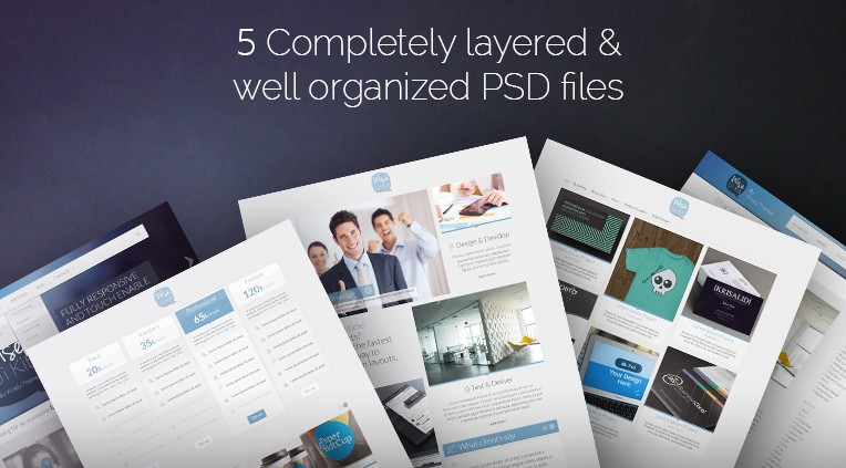 5 completely layered and well organized PSD files