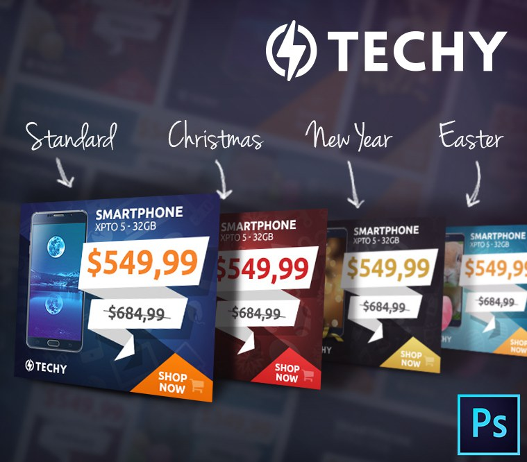 Techy Holiday Sales PSD Banner Template